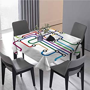 JKTOWN Map Kitchen Household Tablecloth Vintage Style Ornament 54x54 inch Abstract Colorful Subway