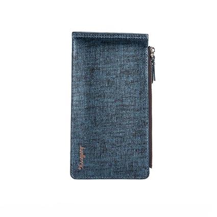 yjydada Hombres Estilo de negocios cuero tarjeta titular billetera monedero largo cartera