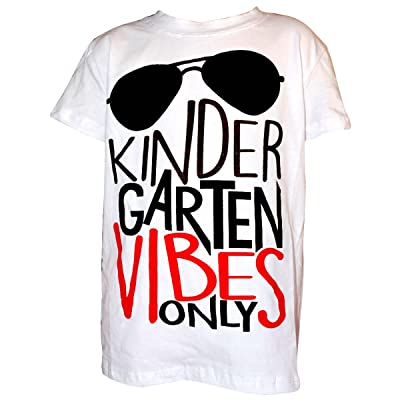 """Unique Baby Boys """"Kindergarten Vibes Only"""" Back to School Shirt (7, White)"""