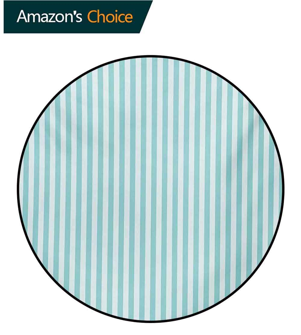 Stripes Modern Washable Round Bath Mat,Vertical Line Pattern In Pastel Colors Abstract Geometric Composition Non-Slip Bathroom Soft Floor Mat Home Decor,Diameter-71 Inch Pale Blue Pale Sea Green