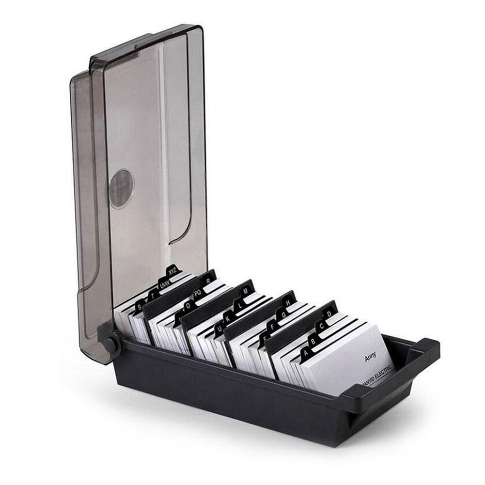 Anna-neek Business Card Box Business Card Case with 4 Compartments with Dividers and Tabs for 500 Cards for the Office