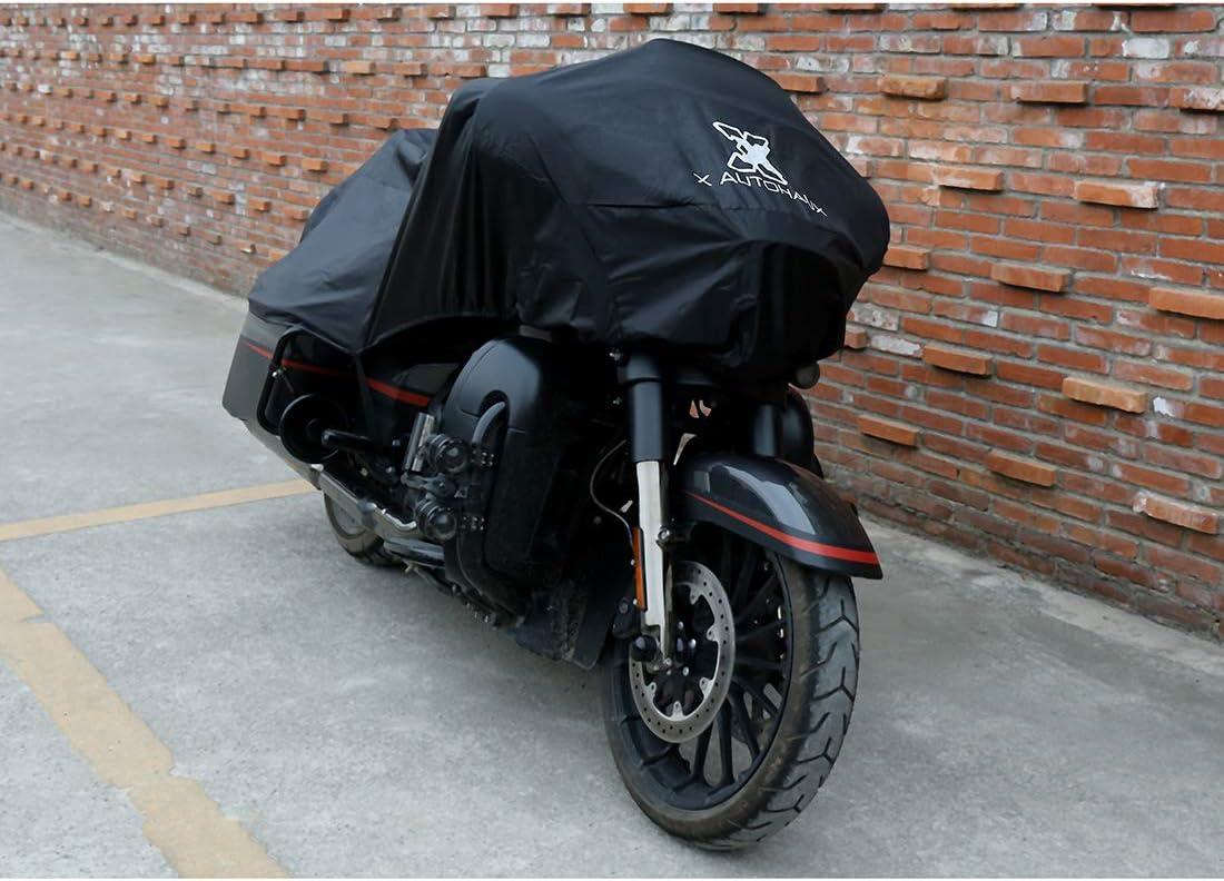 uxcell バイクカバー バイク車体カバー ハーフカバー 防水 風飛び防止 UVカット 防塵 丈夫 軽量 収納バッグ付き L ブラック