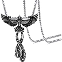 "Xusamss Hip Hop Titanium Steel Animal Phoenix Pendant Necklace,24"" Chain"