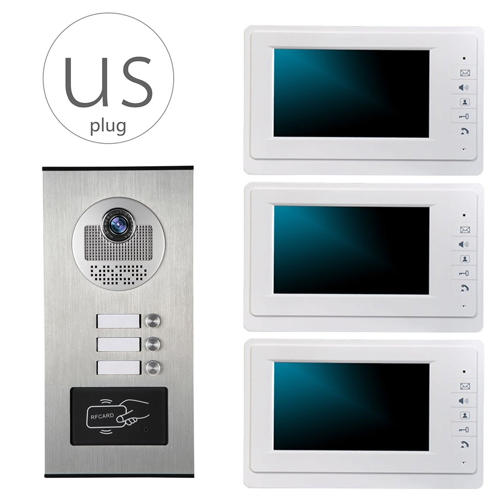 MuLuo Flypv V70F-530-3 Video Doorphone Video Doorbell Kit 3pcs 7-inch Monitors and 1pc Surface Mounted HD Camera ID Card Unclocking by MuLuo