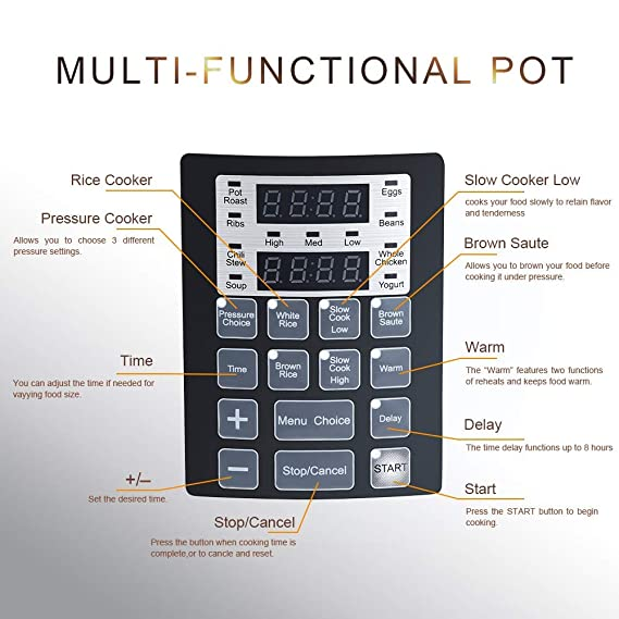 Amazon.com: PrepAmeal Olla a presión eléctrica 8 en 1, 6 ...