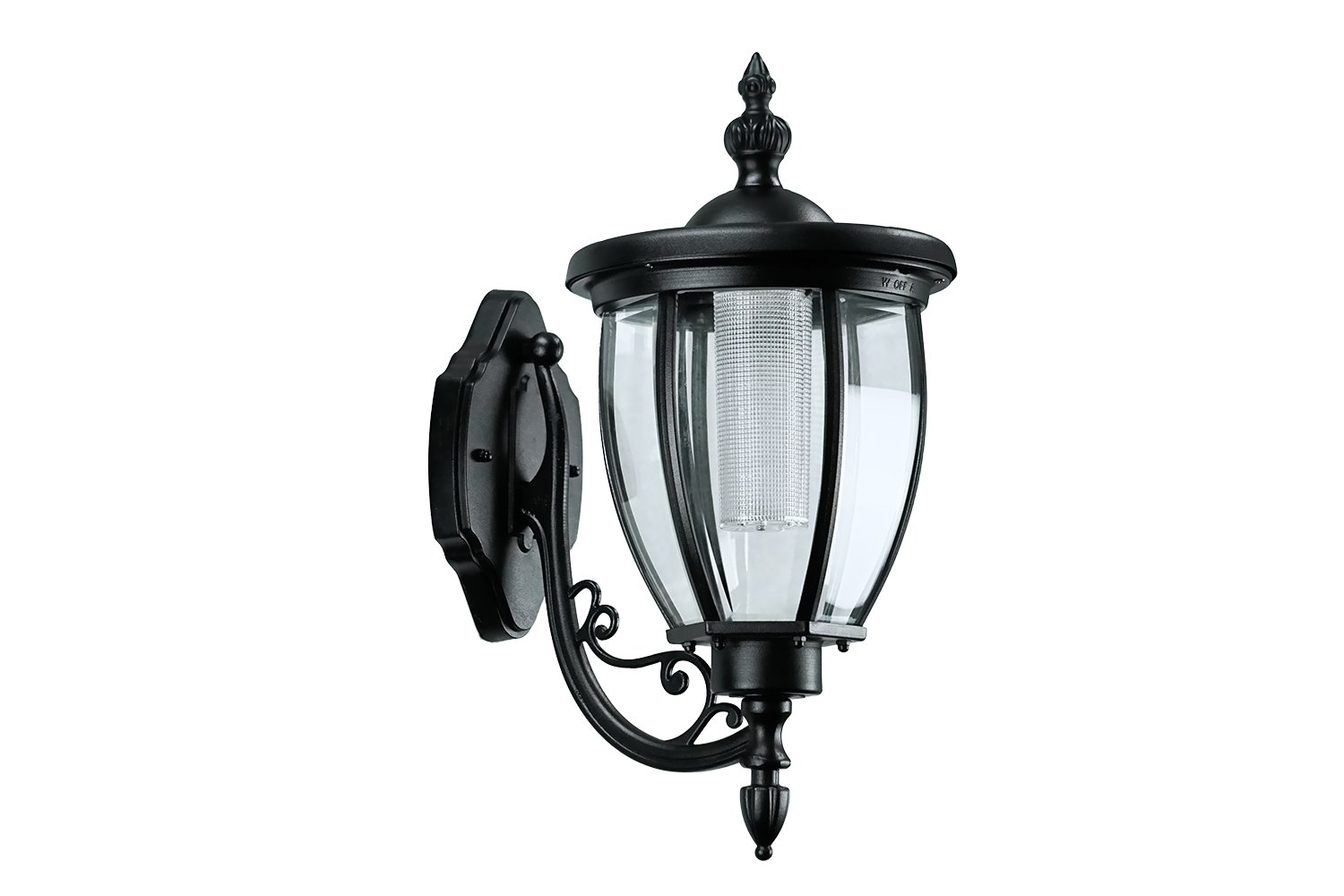 Sun-Ray 312078 Kenwick Wall Mount Solar Lantern, No Wiring Needed, Batteries Included, 17.8 inches, Black