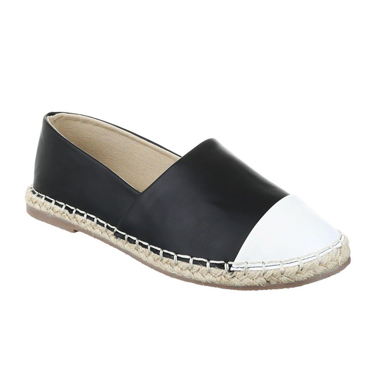 Bequeme Sommer Damen Espadrilles Slipper Flats Sandalen Freizeit Schuhe 732 Schwarz