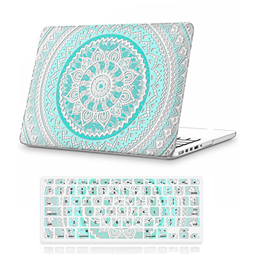 iCasso Macbook Retina 15 inch Model A1398 Rubber Coated Soft Touch Hard Shell Protective Case Cover For Macbook Pro 15 Inch Retina (No CD-ROM )Model A1398 With Keyboard Cover-Blue&White Medallion
