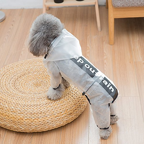 Dog Raincoat Waterproof Clothes Rain Jacket Poncho Puppy Rainwear Transparent Hoodie (X-Large, White) -