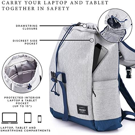 BROMO BARCELONA – Travel Backpack Laptop Case 15 inch – Water Resistant – multi-pocket – Grey