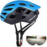 Honeytecs Mountain Bike Helmet Motorcycling Helmet with UV400 Protective Detachable Magnetic Visor and Rear Light Men Women