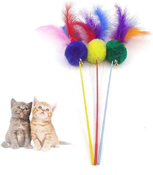 1 Pieza de Juguetes para Gatos, Coloridas Plumas Naturales ejercitador Varita con Campana de Sonido Attach 3 Divertidas Varillas para Gatos para el Desarrollo de afecciones con Gatos (Color al Azar): Amazon.es:
