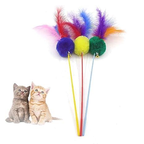 1 Pieza de Juguetes para Gatos, Coloridas Plumas Naturales ejercitador Varita con Campana de Sonido