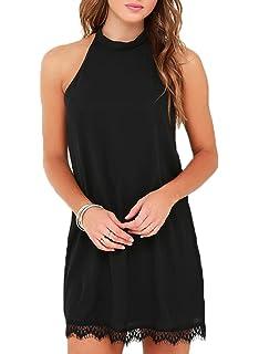 bb837077aba9f4 Fantaist Women s Sleeveless Halter Neck Patchwork Lace Mini Casual Shift  Dress