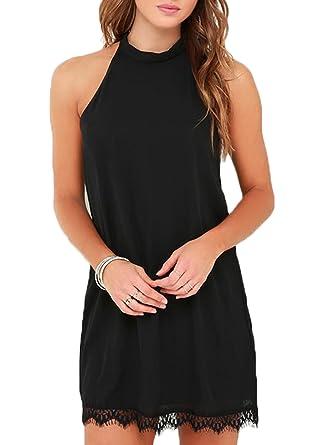f2a2bac83b0 Fantaist Women s Halter Neck Sleeveless Lace Trim Loose Shift Mini Casual  Dress (XS