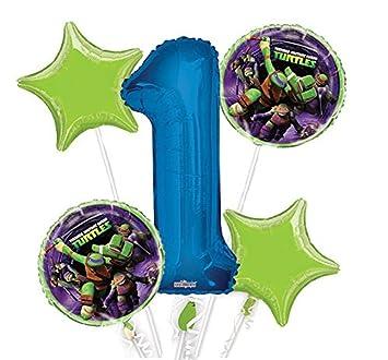 Ninja Turtles Balloon Bouquet 1st Birthday 5 pcs - Party Supplies