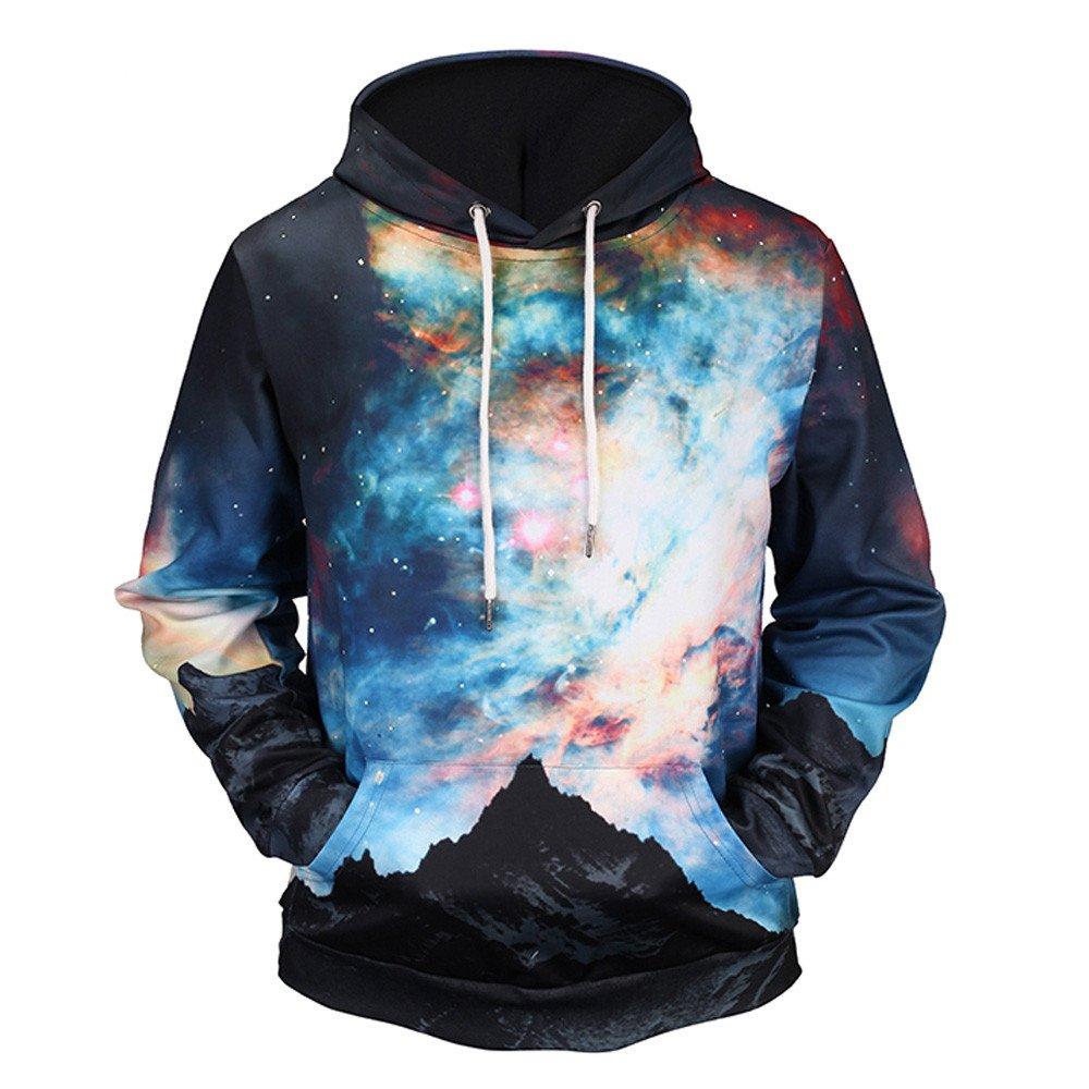 ShenPr Unisex Men's Galaxy 3D Print Long Sleeve Sweatshirts Pullovers Tops Fashion Hoodies Sweatshirts Clearance