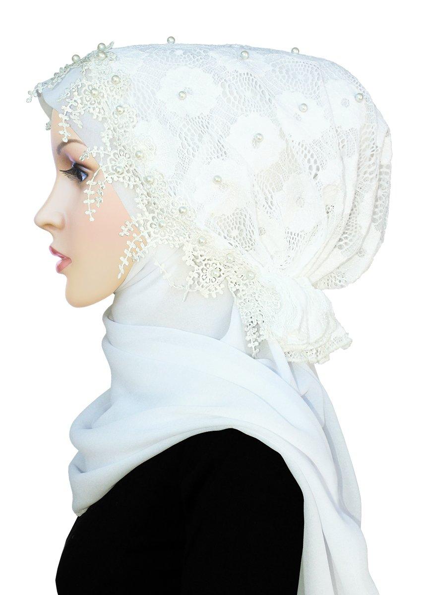 Salma Hijab Lace Cap & Chiffon Scarf 2 Piece Set (White)