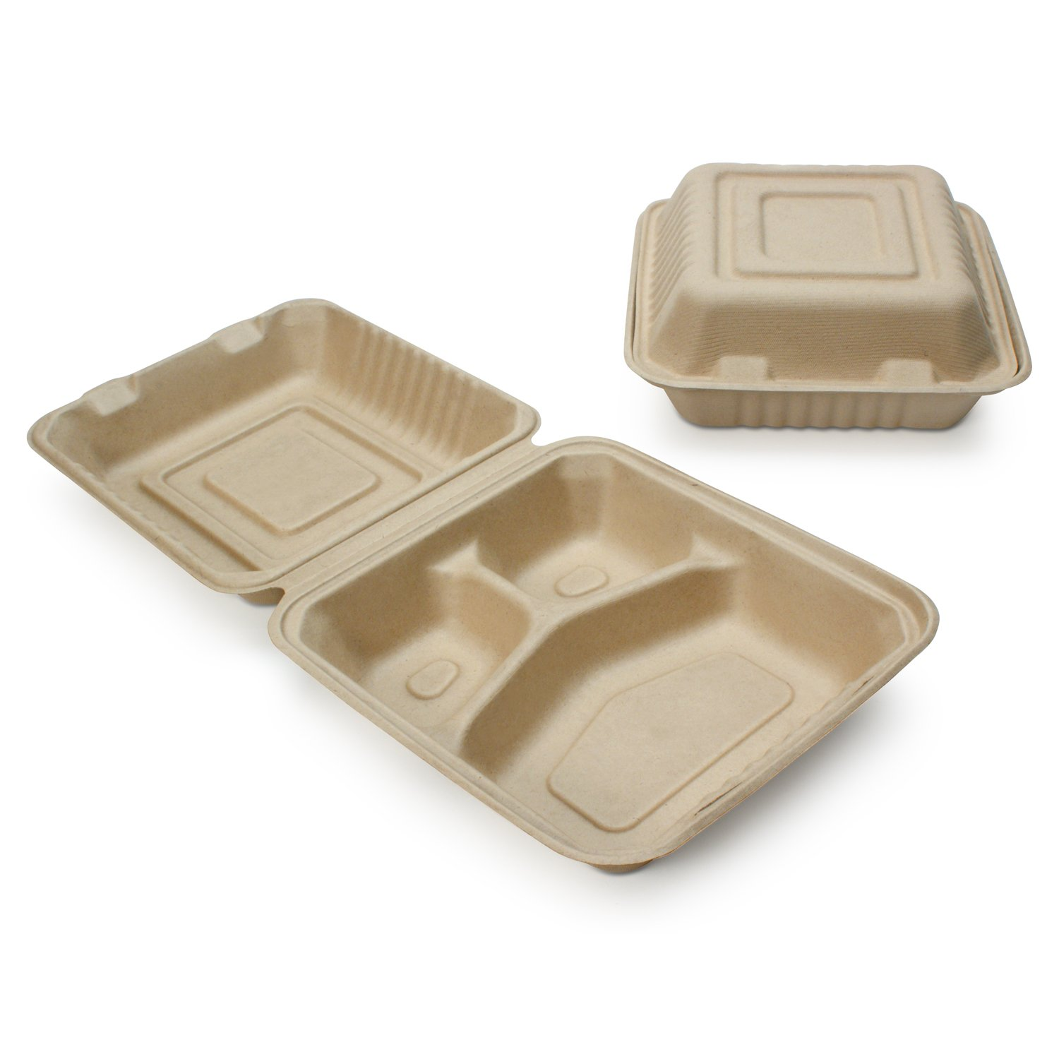 Earth's Natural Alternative Wheat Straw Fiber, Bagasse (Sugarcane) Tree Free 8'' 3-Compartment Clam Shell Container, 200/Case