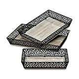 Whole House Worlds The French Country Style Trays, Set of 3, Rustic Chateau Style, White Washed Finish Over Wood Grain, Fretwork Metal Rims, Various Sizes By