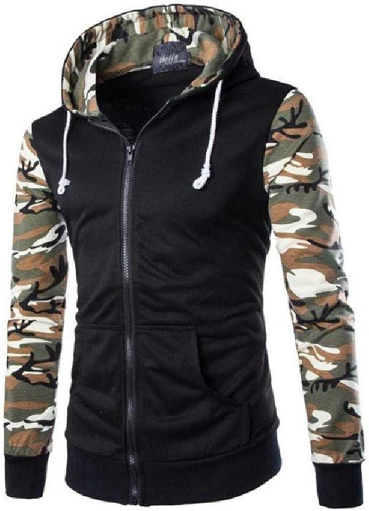 HEFASDM Men Hood Camouflage with Pocket Zipper Skinny Pullover Top Sweatshirt