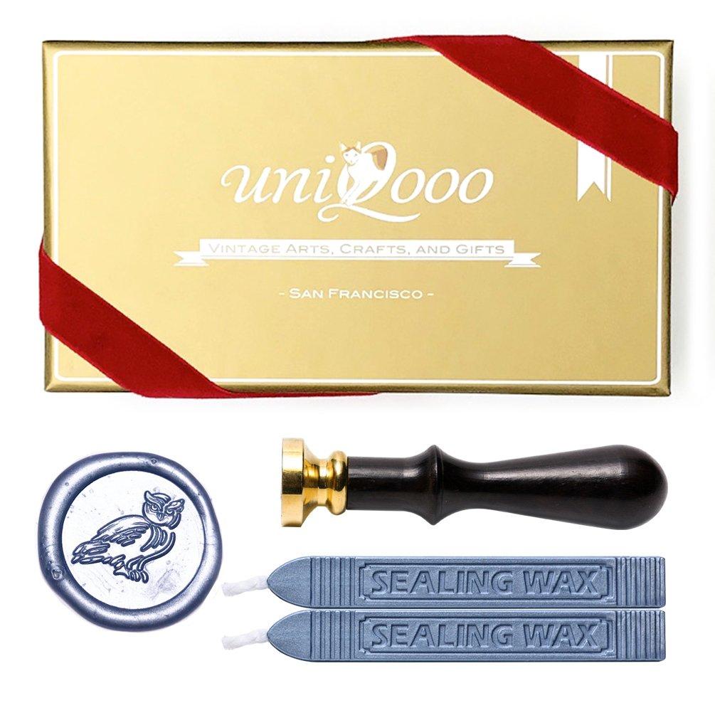 UNIQOOO Arts & Crafts Cute Little Owl Wax Seal Stamp Kit, 2 Metallic Glossy Light Blue Wick Wax Sticks, Great Embellishment of Cards, Envelopes, Wedding Invitations, Wine Packages, Gift Idea JIUFAN