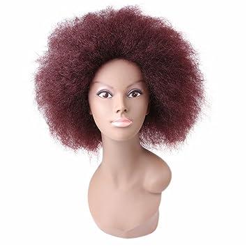 Sueño Peluca Sintética Recta Pelucas Cortas Afroamericanas para Mujeres Miss Coco Wignegro, Vino Tinto,