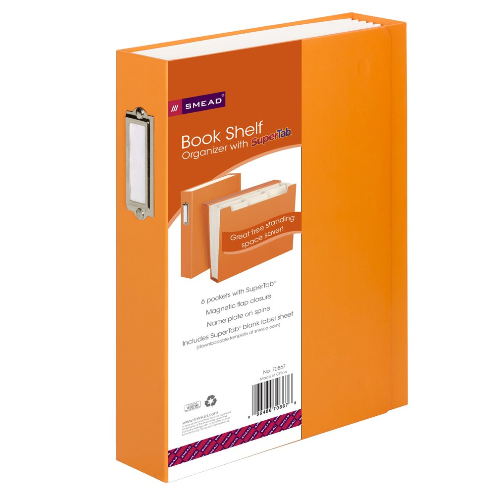 Smead Book Shelf Organizer, 6 SuperTab Pockets, Magnetic Closure, Orange (70868)
