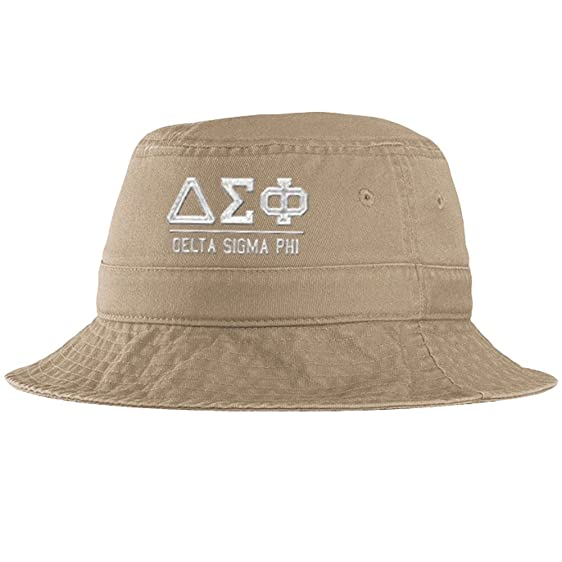 cee959ead59 Men s Delta Sigma Phi Fraternity Greek Letter Bucket Hat in Khaki at ...