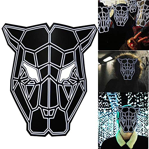 Loneflash Halloween LED Mask,Sound Reactive Mask Halloween Cosplay Glow Scary Dance Rave Light Up Adjustable Mask Rave for Festival Parties for $<!--$13.29-->
