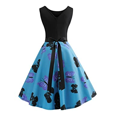 Tsmile Women Dress Clearance Sleeveless Vintage Butterfly Printed Swing Dress Evening Party Prom Dress (Blue