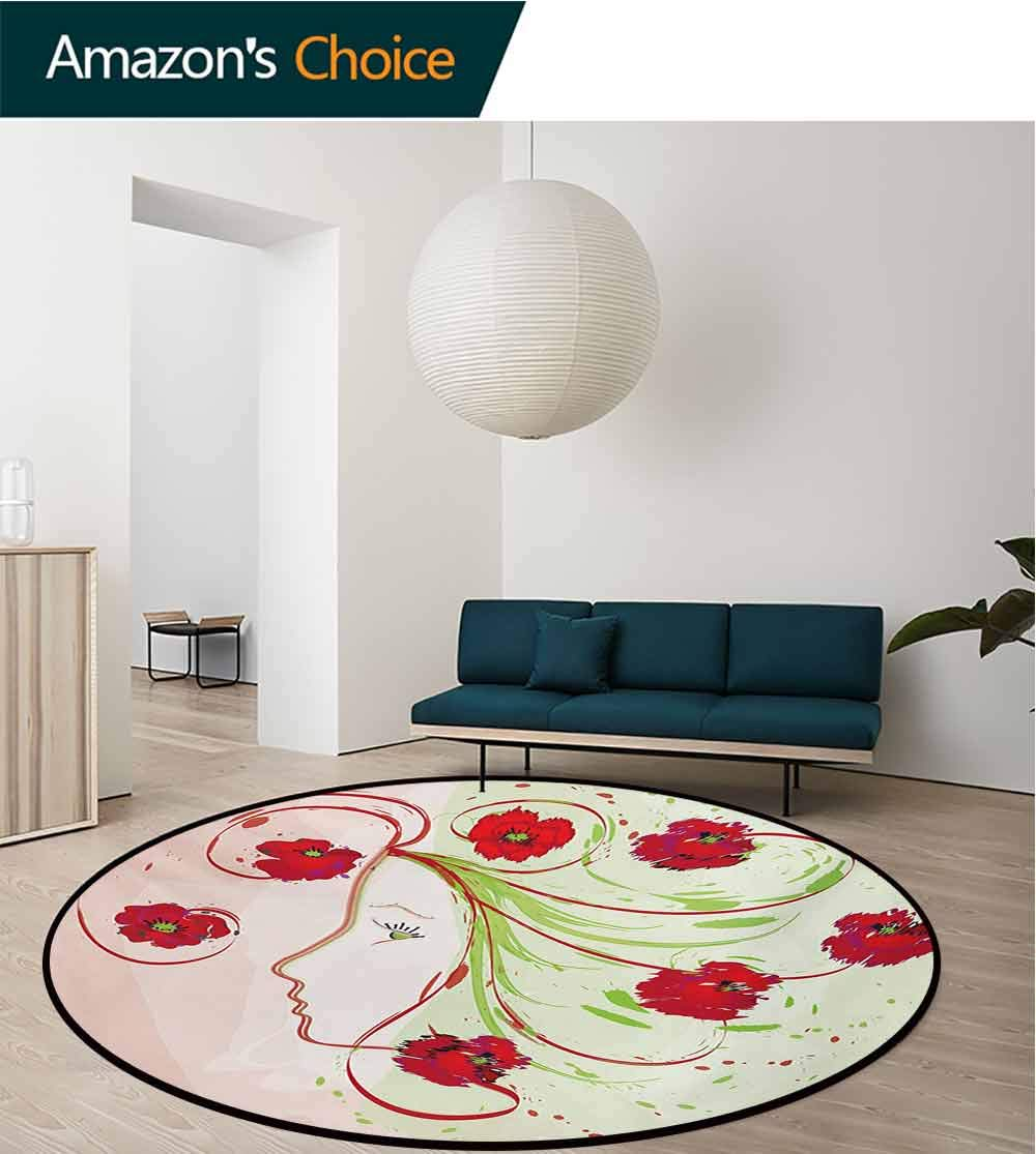 RUGSMAT Watercolor Flower Super Soft Circle Rugs for Girls,Girl Profile Poppies Floral Hair Watercolor Effect Artistic Design Print Baby Room Decor Round Carpets,Diameter-71 Inch Green Red