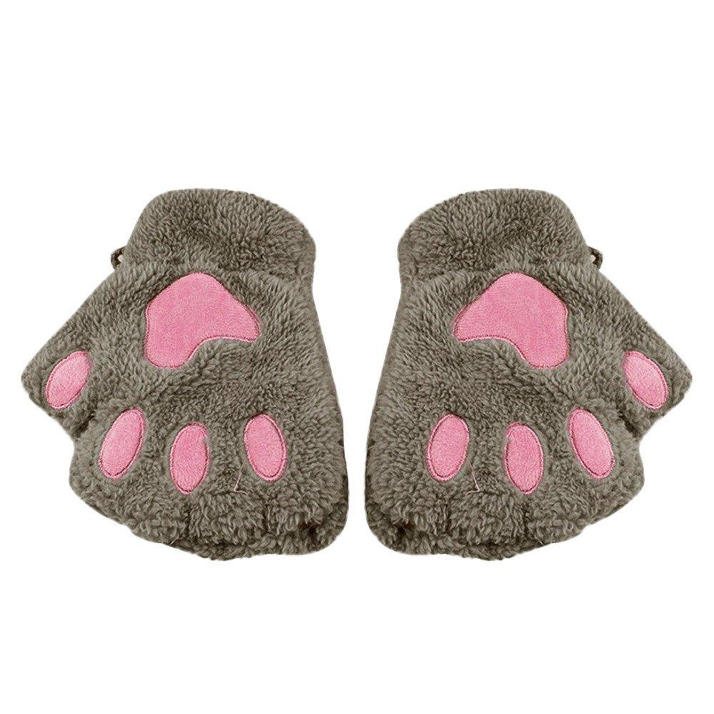 TM Little Kids Winter Gloves,Jchen Baby Kids Boys Girls Cute Cat Paw Fingerless Hand Winter Warmer Gloves Jchen Gray TM Baby Kids Boys Girls Cute Cat Paw Fingerless Hand Winter Warmer Gloves