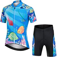 LPATTERN Maillots de Ciclismo Traje Conjunto de Bicicleta Jersey de Manga Corta + Culotte Pantalones para Niños
