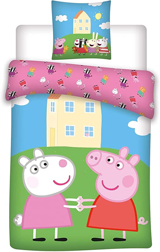 KK Peppa Pig - Juego de funda nórdica (135 x 200 cm y 80 x 80 cm ...