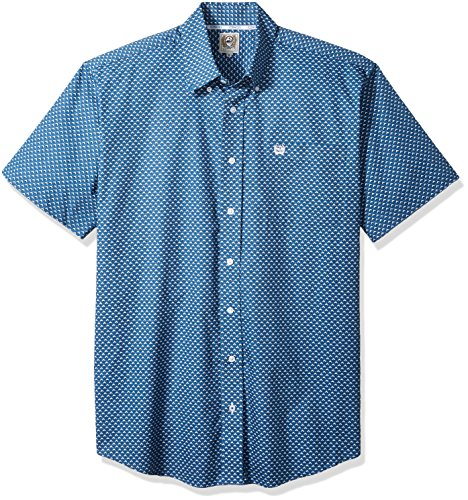 Cinch Horse Tack (Cinch Men's Classic Fit Short Sleeve Button One Open Pocket Print Shirt, Teepee Blue, Medium)