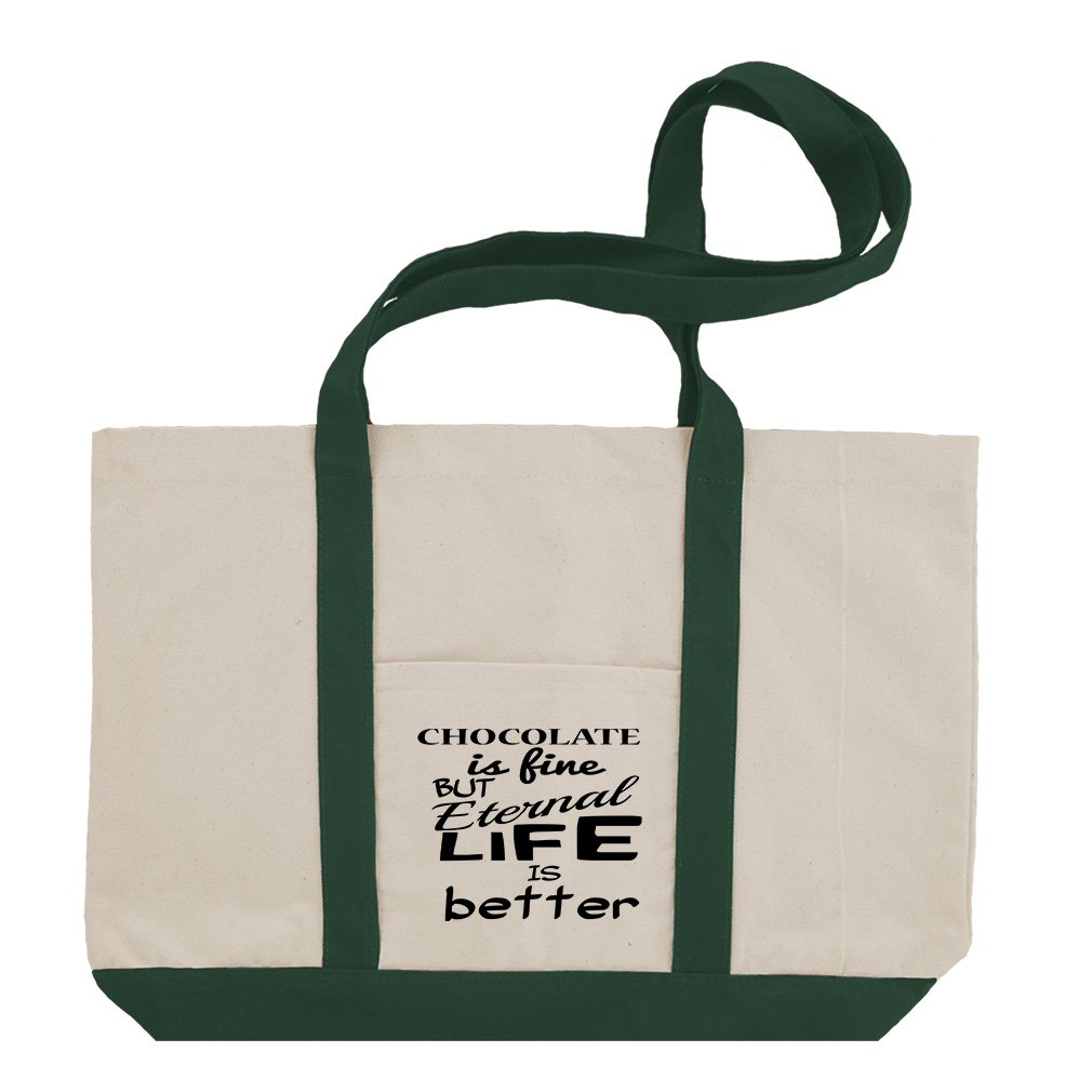 Chocolate Fine Eternal Life Better Cotton Canvas Boat Tote Bag Tote - Green by Style in Print (Image #1)