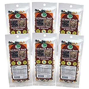 Dark Chocolate Chip & Almond Snack Pack (6 Pack) - LC Foods - Low Carb - All Natural - Paleo - Gluten Free - No Sugar - Diabetic Friendly - 1.9 oz Each