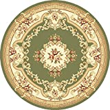 "KAS Oriental Rugs Corinthian Collection Aubusson Round Area Rug, 7' x 7"", Green/Ivory"