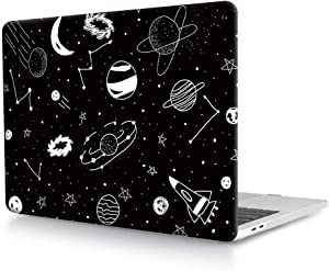 HRH Hand Drawn Space Design Laptop Body Shell Protective Hard Case for MacBook New Pro 13 inch with Touch bar A2159 A1706 A1989/ Without Touch bar A1708 A1988(2019 2018 2017 2016 Release)
