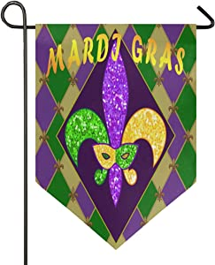 Oarencol Mardi Gras Zigzag Fleur De Lis Garden Flag Double Sided Home Yard Decor Banner Outdoor 12.5 x 18 Inch