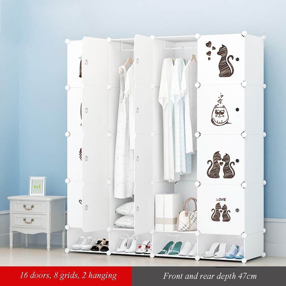 GJC Einfache Kleiderschrankkombination Klappaufbewahrung Kindergarderobe Kunststoffharz Einzelaufbewahrung Erwachsener Kleiderschrank,I