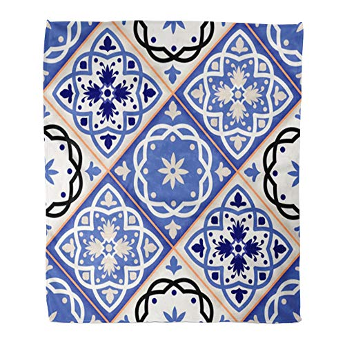 (Emvency Throw Blanket Warm Cozy Print Flannel Gorgeous Patchwork Pattern from Colorful Moroccan Tiles Ornaments Fills Comfortable Soft for Bed Sofa and Couch 60x80 Inches)