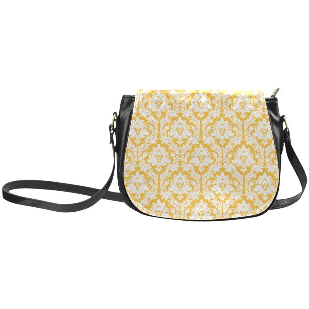 Fashion Women And Girls Colorful Damask Pattern Sunny Yellow And White Classic Saddle Bag/Shoulder Bag/Handbag SD-71
