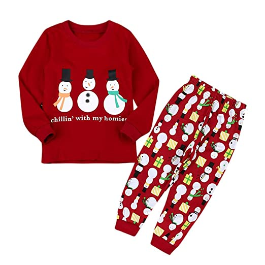 5bad01ac Amazon.com: Franterd Baby Girls 2PC Christmas Snowman Letter Tops + ...