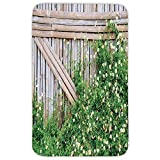 Rectangular Area Rug Mat Rug,Farm House,Bamboo Fence Covered by Ivy Daisy Flower Blooms Chamomile Petals Picture,Green Light Brown,Home Decor Mat with Non Slip Backing