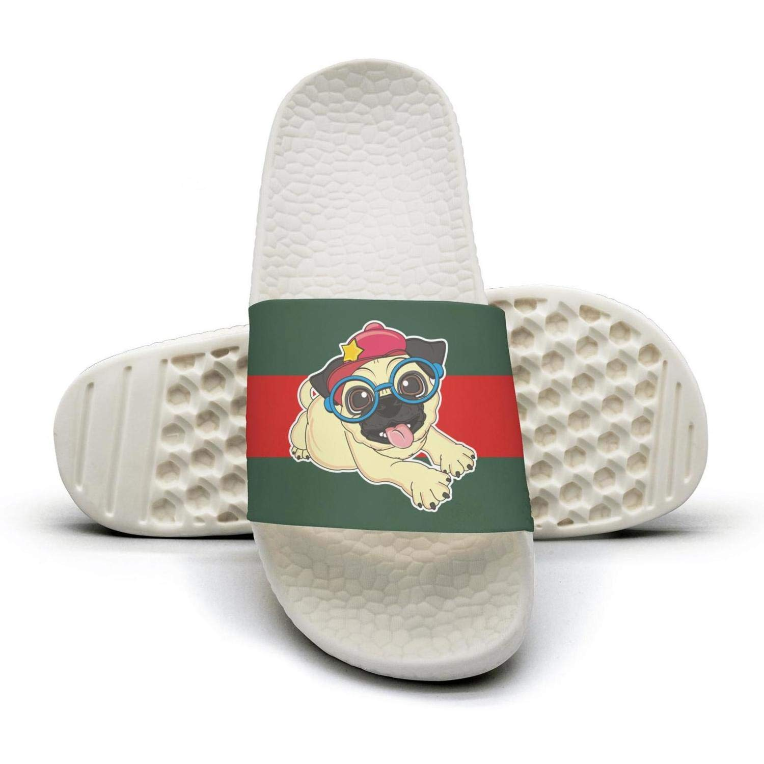 Cute Pug glasses with red hat man red and green stripe flat Slipper Sandals Mules Slippers