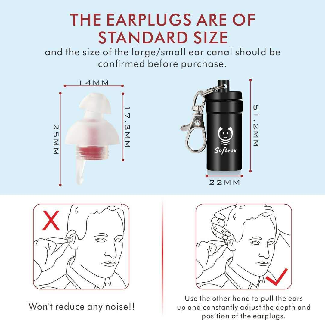 Ear Plugs for Sleeping, Softvox Noise Reduction Sleeping Ear Plugs-Upgraded Filter(SNR31dB)-Reusable Ear Plugs for Snorning,Work,Office,Airplane Travel,Gardening by softvox (Image #7)