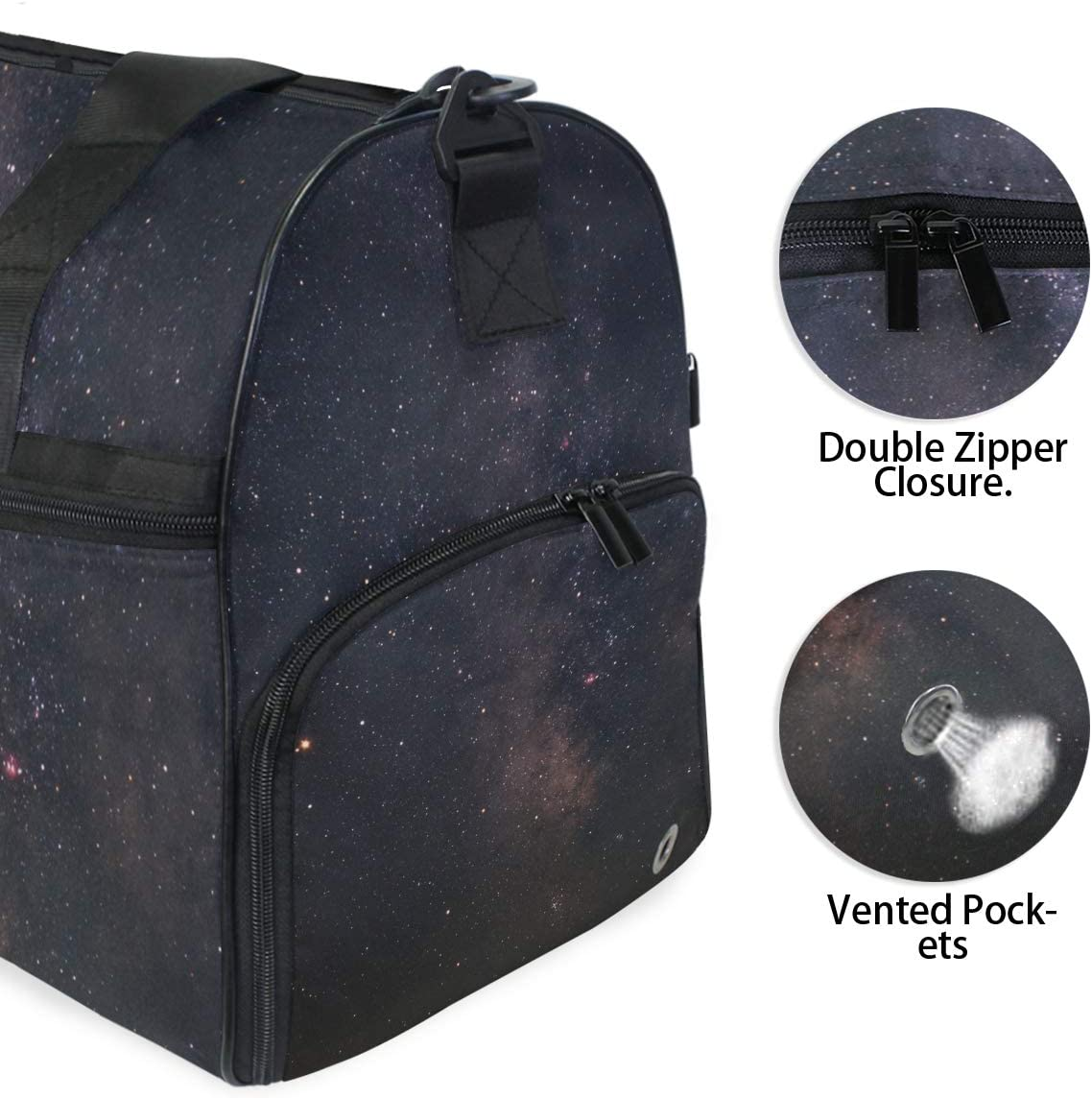 MALPLENA Black Universe Space Packable Duffle Bag For Men Women Tear Resistant Sports Duffle