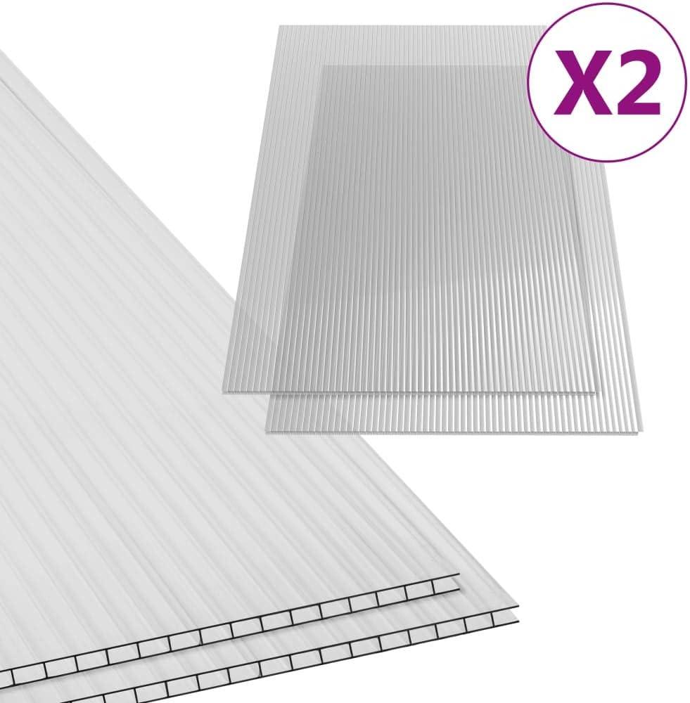 vidaXL 2x Paneles L/ámina Placa de PC Cubierta Invernadero de C/ámara Hueca Doble Pared M/últiple Ligero Fuerte de Policarbonato 6 mm 140x61 cm